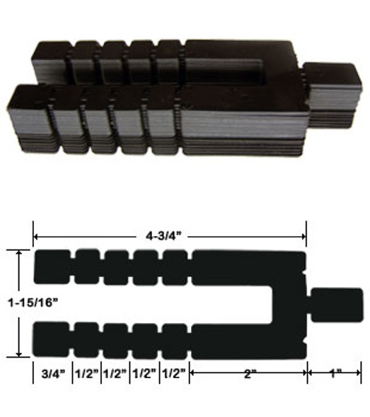 "1/16"" x 4-3/4"" Adjustable Size Stack Shims 96 Pack"