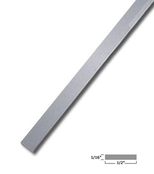 "1/2"" X 1/16"" Aluminum Flat Bar Satin Anodized Finish with Tape - 95"""