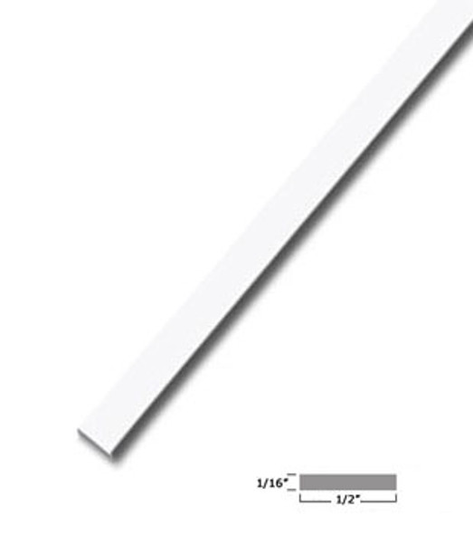 "1/2"" X 1/16"" Aluminum Flat Bar White Finish with Tape 47-7/8"" Long"