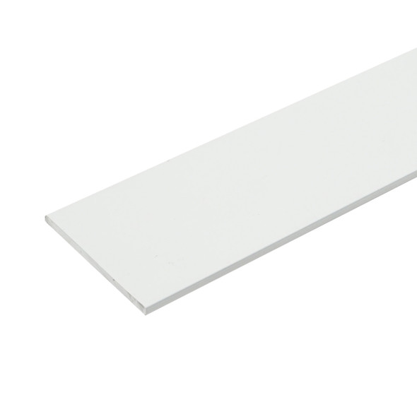 "1/2"" X 1/16"" Aluminum Flat Bar White Finish with Tape 95"" Long"