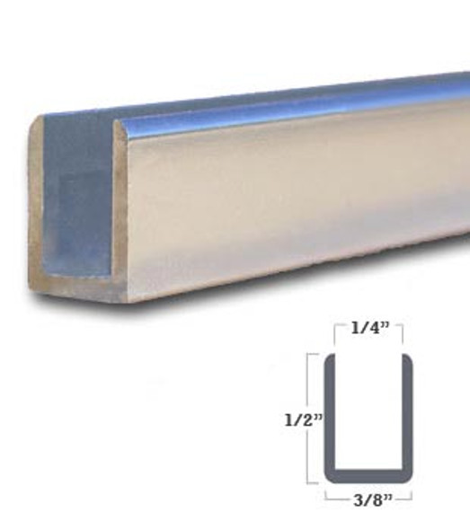 "1/4"" Aluminum Deep U-Channel Brite Silver Anodized 95"" Long"