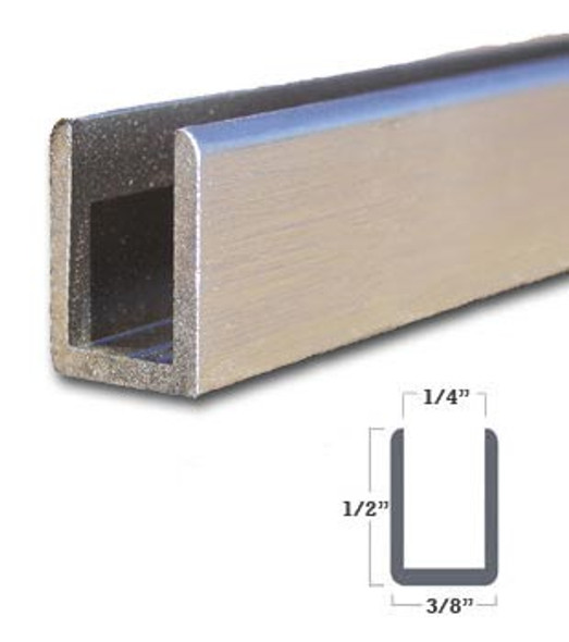 "1/4"" Aluminum Deep U-Channel Brushed Nickel Anodized 95"" Long"