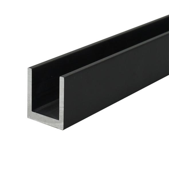 "1/4"" Aluminum U-Channel Black Anodized 95"" Long"