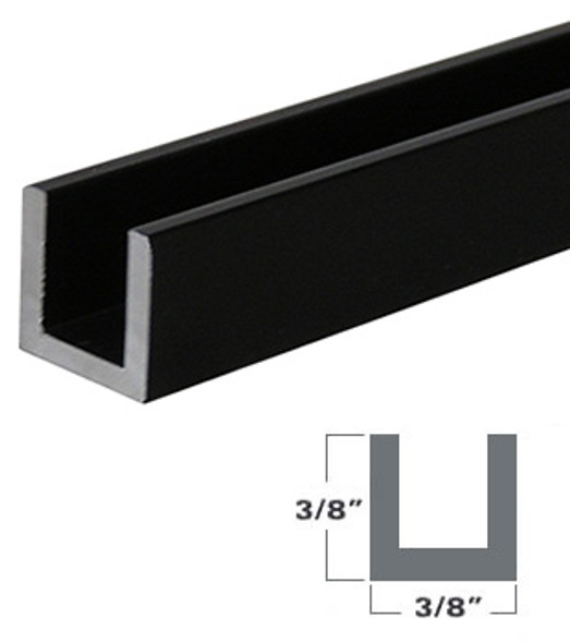 "1/4"" Aluminum U-Channel Black Anodized 95"" Long"