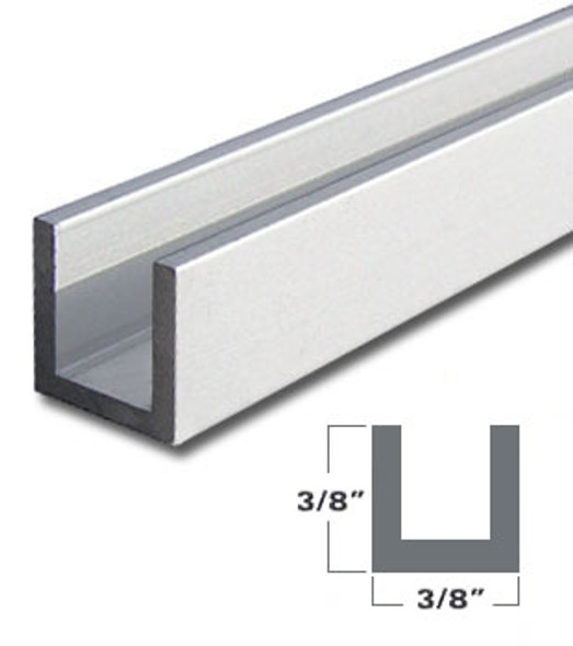 "1/4"" Aluminum U-Channel Brite Silver Anodized  47-7/8"" Long"