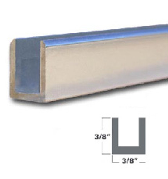 "1/4"" Aluminum U-Channel Brite Silver Anodized  95"" Long"