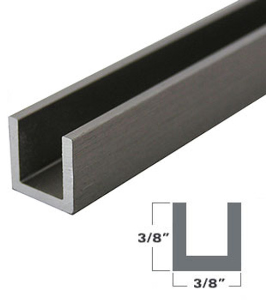 "1/4"" Aluminum U-Channel Brushed Nickel Anodized 95"" Long"