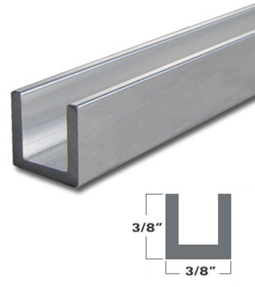 "1/4"" Aluminum U-Channel Satin Silver Anodized  95"" Long"