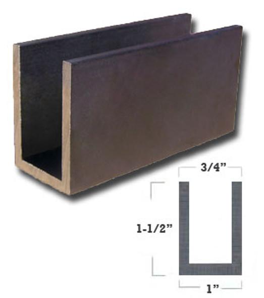"""1/8"""" Wall 1"""" x 1-1/2"""" Aluminum U Channel Dark Bronze Finish 47-7/8"""""""