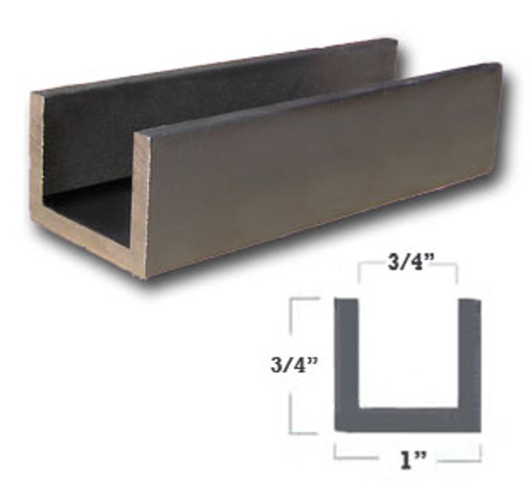 "1/8"" Wall 1"" x 3/4"" Aluminum U Channel Dark Bronze Finish 47-7/8"""
