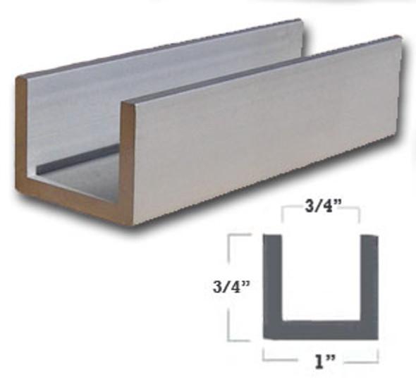 "1/8"" Wall 1"" x 3/4"" Aluminum U Channel Satin Anodized Finish 47-7/8"""