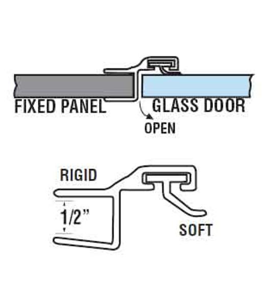 """180 Deg. Poly Shower Door or Strike Jamb Seal For 1/2"""" Glass- 95"""" Long"""