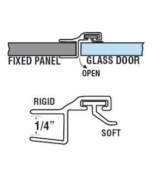 """180 Deg. Poly Shower Door or Strike Jamb Seal For 1/4"""" Glass- 95"""" Long"""