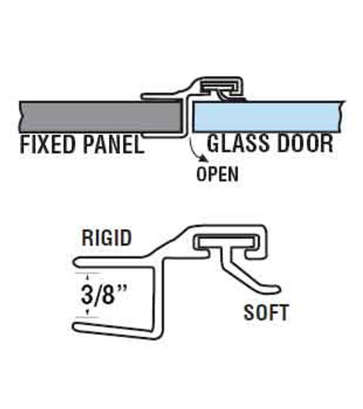 """180 Deg. Poly Shower Door or Strike Jamb Seal For 3/8"""" Glass- 95"""" Long"""