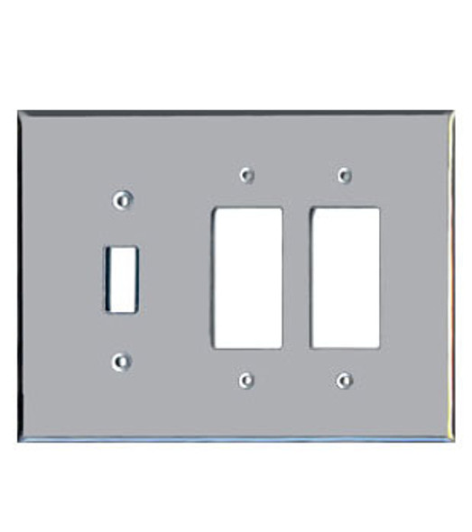 2 Decora + 1 Toggle Acrylic Mirror Outlet Cover Plate