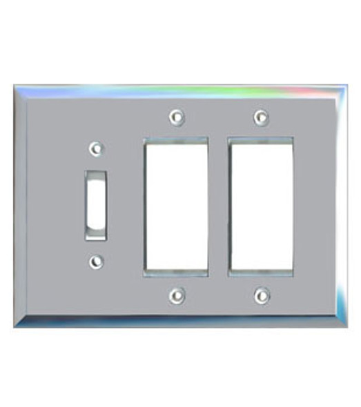 2 Decora + 1 Toggle Glass Mirror Switch Cover Plate