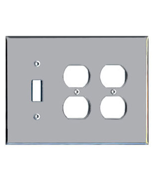 2 Duplex + 1 Toggle Acrylic Mirror Outlet Cover Plate