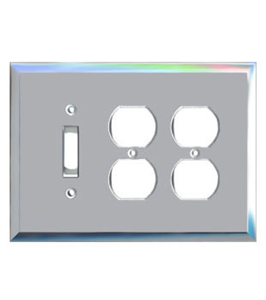 2 Duplex + 1 Toggle Glass Mirror Outlet Cover Plate