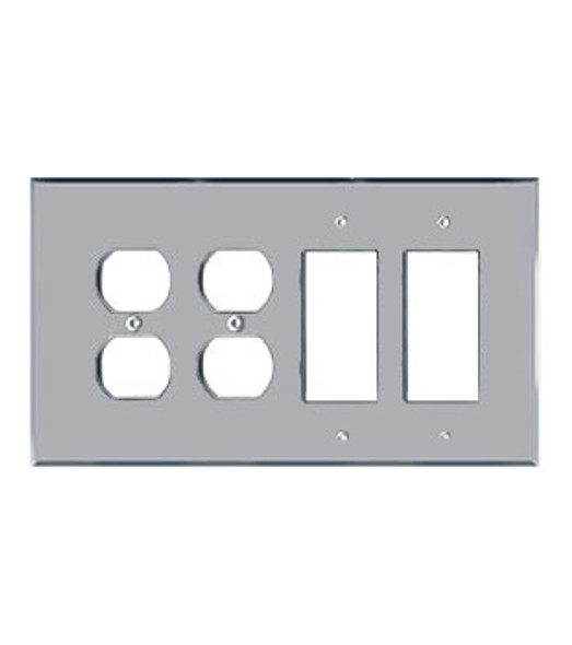 2 Duplex + 2 Decora Acrylic Mirror Outlet Cover Plate