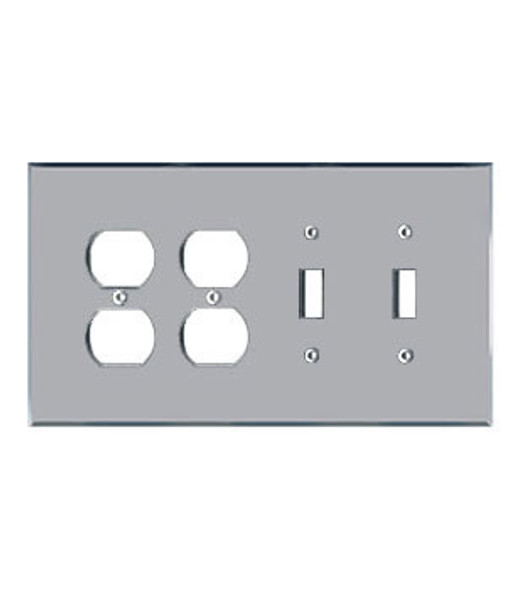 2 Duplex + 2 Toggle Acrylic Mirror Outlet Cover Plate