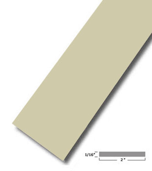 "2"" X .075"" Almond Vinyl Flat Bar Window Trim with Tape -12 ft Long"