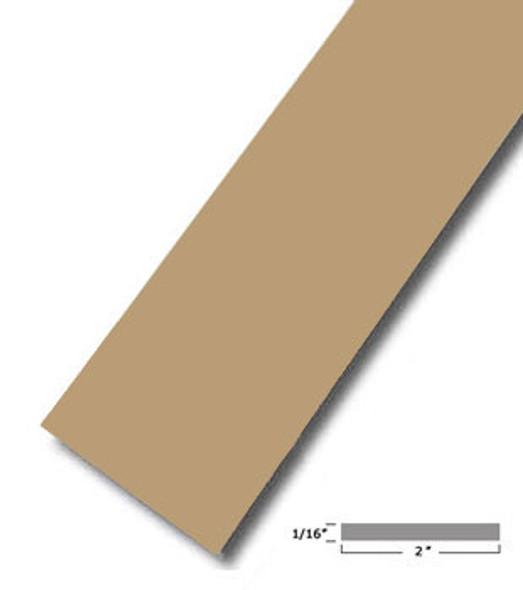 "2"" X .075"" Tan Vinyl Flat Bar Window Trim with Tape -12 ft Long"