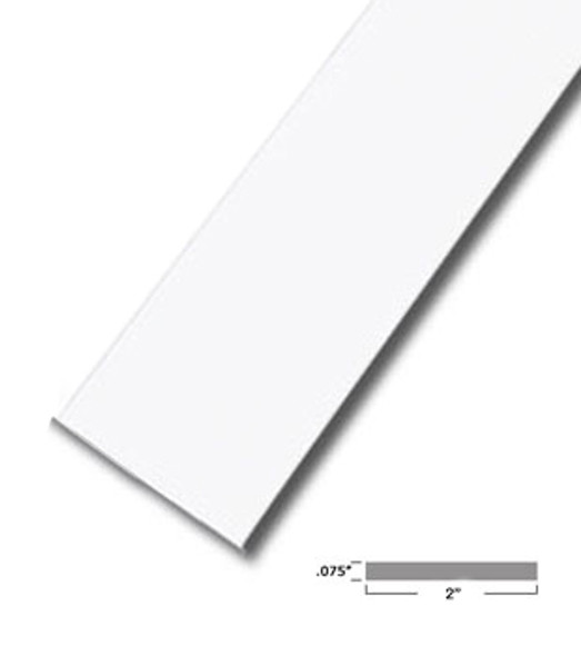 "2"" X .075"" White Vinyl Flat Bar Window Trim with Tape -12 ft Long"