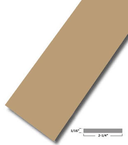 "2-1/4"" X .075"" Tan Vinyl Flat Bar Window Trim with Tape -12 ft Long"