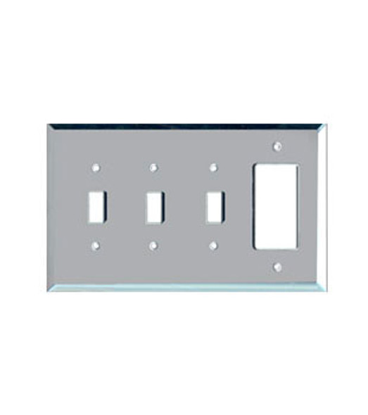 3 Toggle + 1 Decora Glass Mirror Outlet Cover Plate