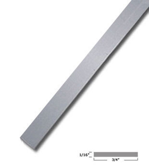 "3/4"" X 1/16"" Aluminum Flat Bar Satin Anodized Finish 95"" Long"