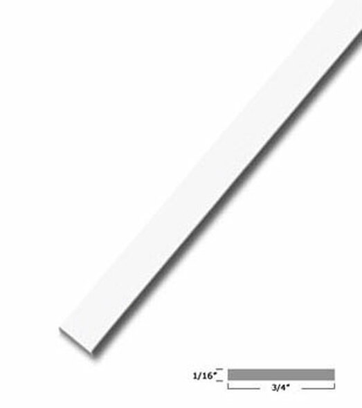 "3/4"" X 1/16"" Aluminum Flat Bar White Finish 95"" Long"