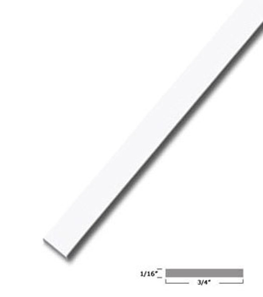 "3/4"" X 1/16"" Aluminum Flat Bar White Finish with Tape 95"" Long"