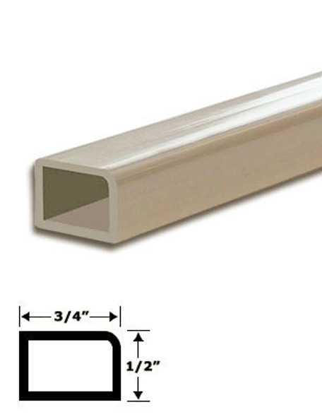 "3/4"" x 1/2"" Tan Vinyl Stop Trim With Tape 83-7/8"" Long"