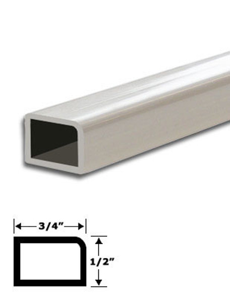 "3/4"" x 1/2"" White Vinyl Stop Trim With Tape 95"" Long"