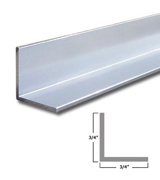 "3/4"" x 3/4"" x 3/64"" Aluminum Angle Anodized Bright Silver 47-7/8"""