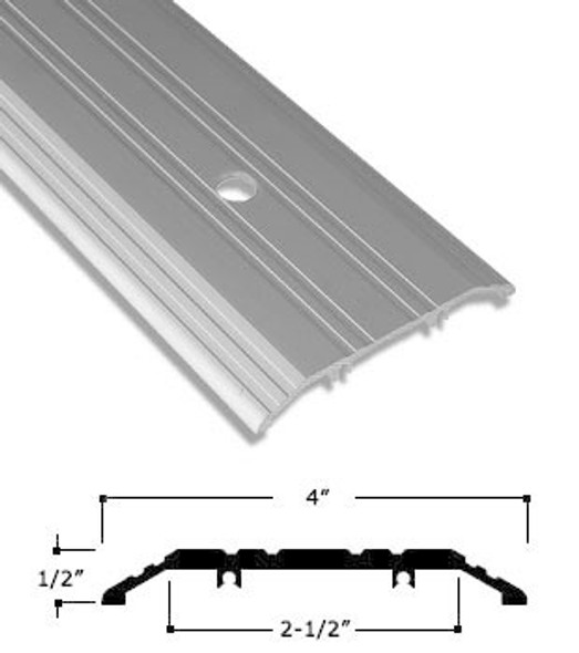 "4"" x 1/2"" Clear Anodized Aluminum Saddle Threshold W/ Pivot Prep. 72"""