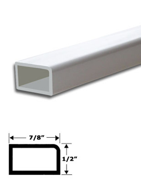 "7/8"" x 1/2"" White Vinyl Stop Trim With Tape 95"" Long"