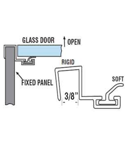"""90 Deg. Polycarbonate Shower Door Strike Jamb For 3/8"""" Glass- 95"""" Long"""