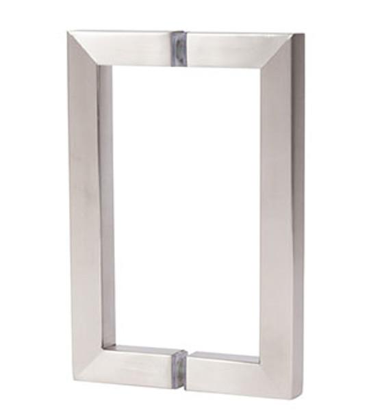 "Brushed Nickel 6"" Back To Back Square Shower Door Pull Handles"