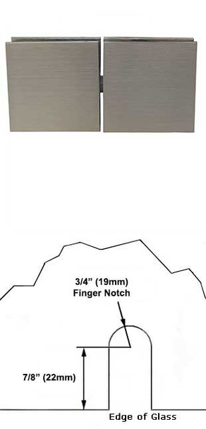 Brushed Nickel Plaza 180 Degree Glass To Glass Pivoting Transom Clip