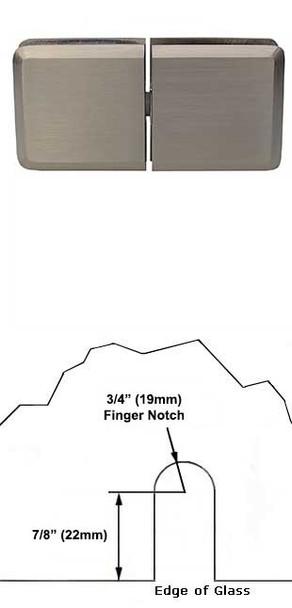 Brushed Nickel Rotunda 180 Degree Glass To Glass Pivoting Transom Clip