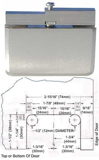 Brushed Nickel Rotunda Pivot Hinge Glass To Header