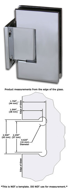 Chrome American Classic Wall Mount Short Back Plate Shower Door Hinge