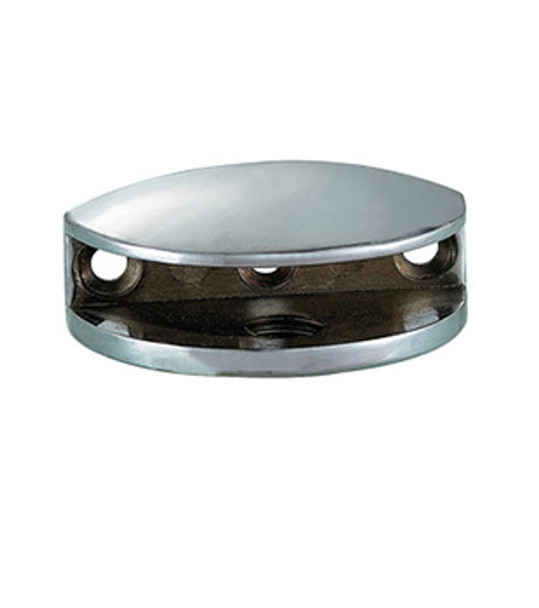 "Chrome Rounded Interior Shower Shelf Clamp for 3/16"" to 1/4"" Glass"