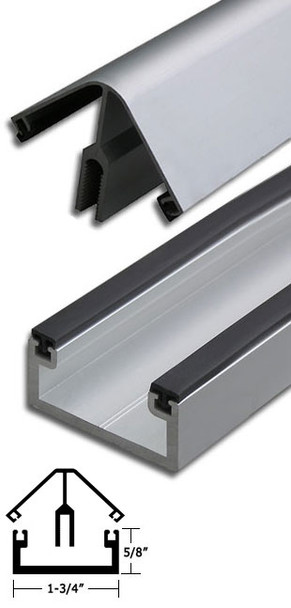 """Clear Anodized Aluminum 90 Corner Shallow Back Division Bar 95"""" Long"""