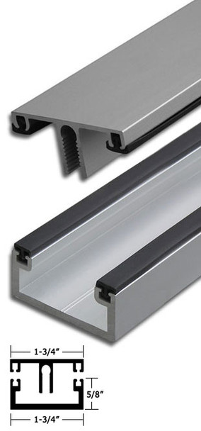 """Clear Anodized Aluminum Shallow Back Division Bar 95"""" Long"""