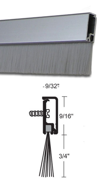 Concealed Fastener Clear Anodized Aluminum with Brush Door Sweep 36""