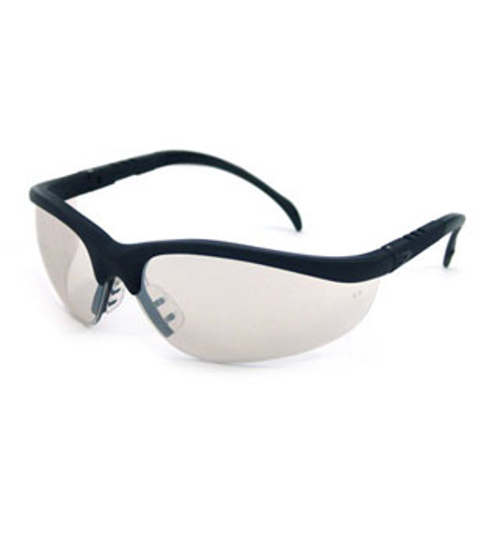 Crews Klondike Safety Glasses with Black Frame and Clear Mirror Lens