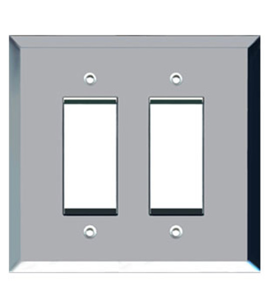 Custom Jumbo Double Decora Glass Mirror Switch Cover Plate