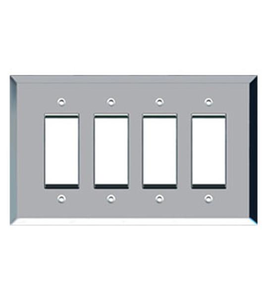 Custom Jumbo Quad Decora Glass Mirror Switch Cover Plate